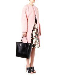 Rochas Pink Collarless Wool-Blend Coat