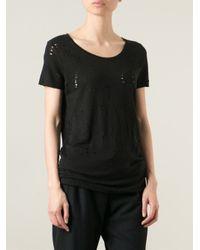 Thom Krom Black Distressed T-Shirt