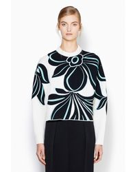 3.1 Phillip Lim - Blue Crewneck Pullover With Floral Embroidery - Lyst