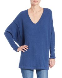 Free People - Blue Long-sleeve V-neck Sweater - Lyst
