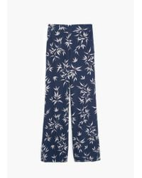 Mango | Blue Floral Palazzo Trousers | Lyst