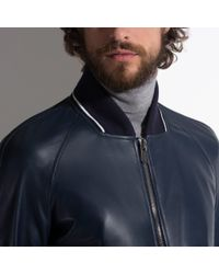 Bally Blue Leather Blouson Jacket Men's Nappa Leather Jacket In Ink for men
