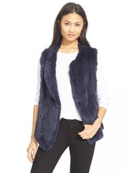 Joie | Blue Genuine Rabbit Fur Vest | Lyst