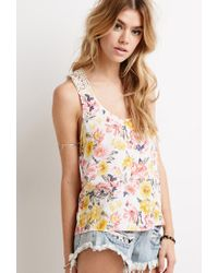 Forever 21 - Multicolor Crochet Racerback Floral Print Top - Lyst