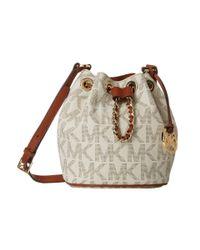 MICHAEL Michael Kors White Frankie Signature Large Convertible Drawstring Bag