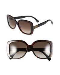 55e6afb5b27 Lyst - Fendi 55mm Retro Sunglasses - Havana in Brown