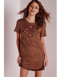 Missguided - Brown Embroidered Faux Suede Shift Dress Tan - Lyst