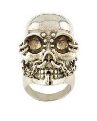 Alexander McQueen - Metallic Chain Skull Ring - Lyst