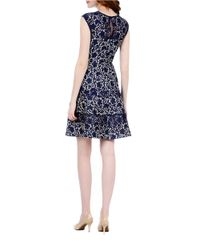 Kay Unger - Blue Bonded Lace Fit And Flare Dress - Lyst
