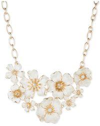 Anne Klein - Metallic Gold-tone White Flower Bouquet Drama Necklace - Lyst