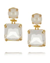 Lele Sadoughi White Solar Goldplated Faux Pearl and Crystal Earrings