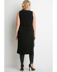 Forever 21 | Black Plus Size Dropped-hem High-slit Tunic You've Been Added To The Waitlist | Lyst