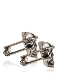John Richmond Metallic Metal Skull Cufflinks for men