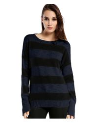 Michael Stars | Blue Cotton Slub Stripe Boatneck Sweater With Side Zips | Lyst