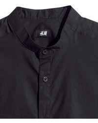 H&M Black Collarless Shirt for men