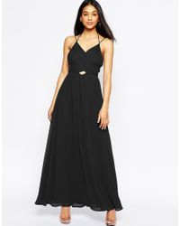 ASOS | Black Halter Neck Maxi Dress With Cut Out Side | Lyst