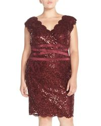Tadashi Shoji | Red Embellished Metallic Lace Sheath Dress | Lyst
