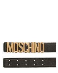 Moschino Black 35mm Logo Lettering Leather Belt for men