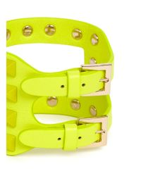 Valentino | Yellow Rockstud Cutout Leather Bracelet | Lyst