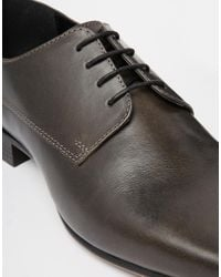 ASOS | Gray Derby Shoes In Leather for Men | Lyst