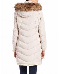 Calvin Klein | White Petite Faux Fur-trimmed Puffer Coat | Lyst