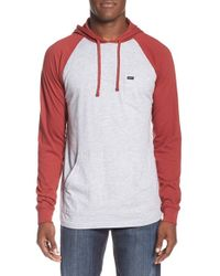 RVCA | Red 'set Up' Lightweight Raglan Hoodie for Men | Lyst