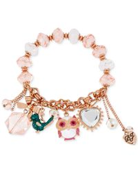 Betsey Johnson | Pink Rose Gold-Tone Owl Charm Stretch Bracelet | Lyst