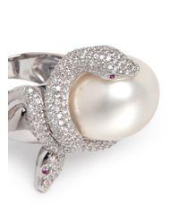 Anabela Chan | Metallic 'mini Bumble' 18k White Gold Pearl Diamond Cocktail Ring | Lyst
