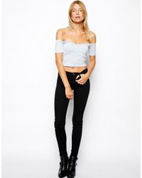 ASOS - Blue Crop Top with Sweetheart Neck and Off Shoulder - Lyst