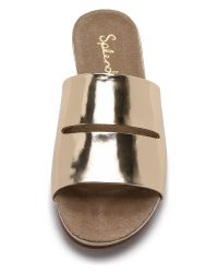 Splendid | Metallic Telluride Slide Sandals - Gold | Lyst