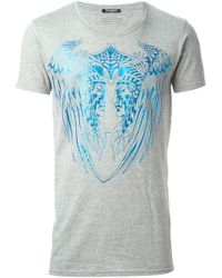 Balmain Blue Native American Print Slim Fit T-shirt for men