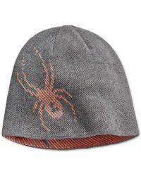 Spyder | Gray Birdseye Spider-graphic Reversible Beanie for Men | Lyst