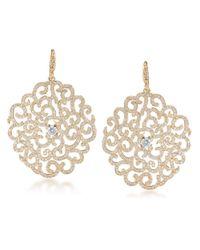 Carolee | Metallic Floral Lace Goldtone Encrusted Drop Earrings | Lyst