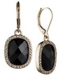 Anne Klein | Black Gold-tone Crystal And Jet Stone Drop Earrings | Lyst