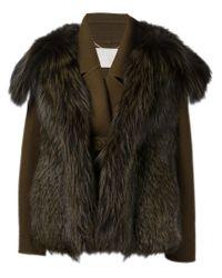 Jason Wu - Brown Fur-Detailed Wool Jacket  - Lyst