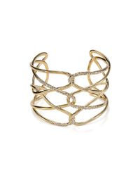 Alexis Bittar - Metallic Yellow Golden & Crystal Crisscross Barbed Cuff - Lyst