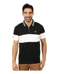 Lacoste Black Sport Short Sleeve Ultra Dry Chest Stripe Polo for men