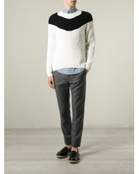N°21 - Black Contrasting Stripe Ribbed Sweater for Men - Lyst