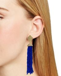 Aqua | Metallic Leslie Tassel Drop Earrings | Lyst