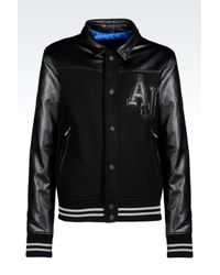 Armani Jeans   Black Blouson In Wool With Faux Leather Details for Men   Lyst