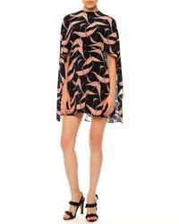 Valentino - Black Jewel-neck Bird-print Capelet Dress - Lyst