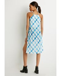Forever 21 | Blue Faded Windowpane High-slit Cami | Lyst