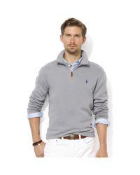 Ralph Lauren - Gray Half Zip Mock Neck French Rib Pullover for Men - Lyst