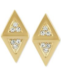 Roman Luxe | Metallic 14K Gold-Plated Diamond-Shaped Crystal Pave Stud Earrings | Lyst