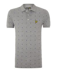 Lyle & Scott - Gray Archive Print Regular Fit Polo Shirt for Men - Lyst
