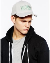 BOSS - Gray Cap for Men - Lyst