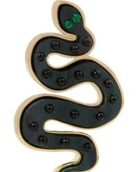 Marc By Marc Jacobs Black Gold-Tone, Acetate And Cubic Zirconia Snake Earrings