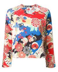 Carven - Red Crane Bird Print Sweater - Lyst