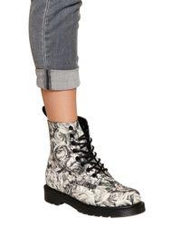 Dr. Martens - Black 30mm Skull Roses Printed Canvas Boots for Men - Lyst