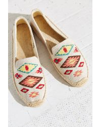 Soludos - Brown Embroidery Espadrille Loafer - Lyst